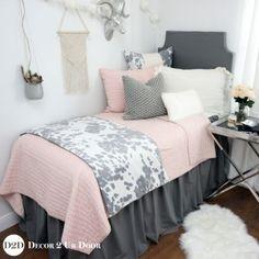 Blush & Grey Cowhide Dorm Bedding Set