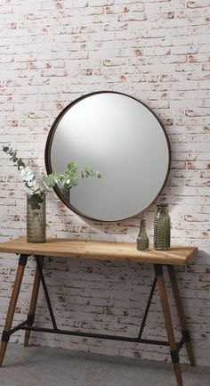 Simple circle / round mirror with aged bronze finish