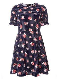 Navy Floral Print Flutter Sleeve Dress