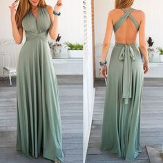 Sexy Sleeveless Self Tie Design Solid Color Convertible Women's Dress (LIGHT GREEN,L) in Maxi Dresses | DressLily.com