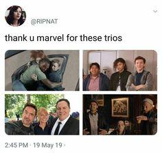 Which trios is your favourite? - - - - - - - - - - - - ffh farfromhome tomholland spiderman spidermanfarfromhome spidermanhomecoming homecoming th mcu marvel avengers avengersendgame dontspoiltheendgame zendaya tomdaya disney meme memeholland quakson Avengers Humor, Marvel Avengers, Marvel Jokes, Hero Marvel, Funny Marvel Memes, Dc Memes, Marvel Dc Comics, Captain Marvel, Quicksilver Avengers