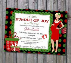 Christmas baby shower invitations Etsy listing at https://www.etsy.com/listing/206808968/christmas-baby-shower-invitation-with