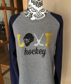 Items similar to Women's, Hockey Mom Love Hockey, Glitter Light Fleece -- Skater and Goalie Designs -- a MUST for Hockey Moms & Grandmas on Etsy Women's Hockey, Hockey Gifts, Field Hockey, Hockey Stuff, Hockey Players, Lacrosse, Hockey Boards, Hockey Quotes, Sports Mom