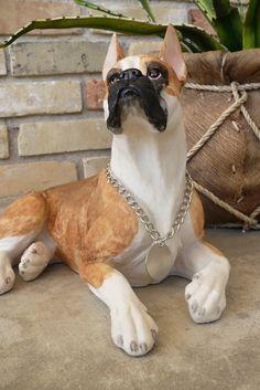 Boxer Dog Statue Lying Down