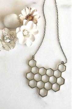 Honeycomb Statement Necklace in Antique Bronze