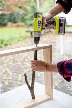 This DIY Branch Shelf is the perfect gift for someone who likes beautiful and useful things. Check out our step-by-step tutorial and make one today. Diy Home Crafts, Diy Home Decor Projects, Diy Wood Projects, Woodworking Projects, Garden Projects, Decor Crafts, Garden Ideas, Decor Ideas, Home Depot