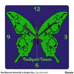 """Needlepoint Butterfly in Bright Green & Purple Clock - The """"stitched"""" bright green butterfly pops against a deep purple background, all of it with the look of needlepoint. What better gift to give the person who loves needlepoint? #needlepoint"""