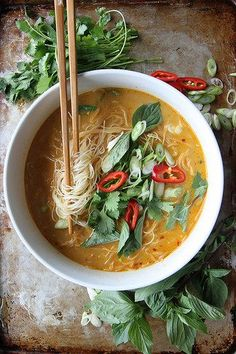 Spicy Thai Curry Noodle Soup by Heather Christo