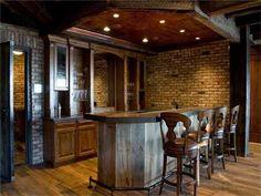 Love the barn wood bar!