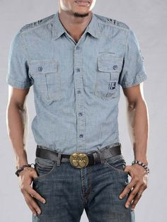Duck And Cover Denim Jeans Short Sleeve Shirt
