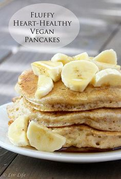 Heart-Healthy Fluffy Vegan Pancakes… So I heard it was National Pancake day… join me anyone!!!??! livlifetoo