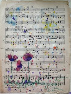 Bella Cosa Art watercolor on repurposed vintage sheet music available in my Etsy… Art watercolor Bella Cosa on the converted … Sheet Music Crafts, Sheet Music Art, Music Paper, Vintage Sheet Music, Vintage Sheets, Paper Art, Paper Crafts, Music And Art, Music Sheets