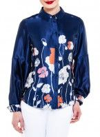 poppy print pleat shirt, Exclusive Print