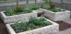 Stacked block raised beds.