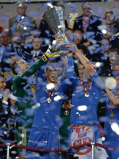 Chelsea lifting the Europa League trophy tonight