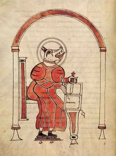 Beast-headed evangelist, Landévennec, Brittany, late 9th or early 10th century. MS. Auct. D. 2. 16. Bodleian Library