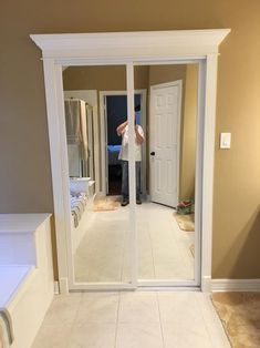 mirrored closet bypass door with wood frame instead of metal - March 10 2019 at Sliding Mirror, Sliding Doors Interior, Sliding Mirror Closet Doors, Door Makeover, Wood Framed Mirror, Mirror Interior, Contractors Wardrobe, Sliding Doors, Mirror
