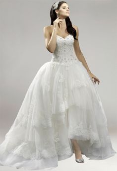 Strapless Tiered Tulle A-Line Ankle Length Bridal Wedding Dress
