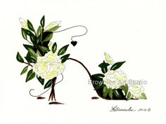 Gardenia Shoe with Heart - Printed on heavy watercolor paper.   All prints enhanced with paint and signed before shipping.
