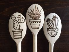 Wood burned Cooking Spoon in Succulents and Cacti: Set of Custom Also Available,What's wood burning ? The tree burnt by covering strategy by moving a picture on wood is called wooden decoration. In wood burning , determining the c. Wood Burning Tips, Wood Burning Crafts, Wood Burning Patterns, Wood Burning Projects, Diy Wood Projects, Wood Crafts, Woodworking Projects, Woodworking Classes, Woodworking Bench