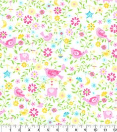 """Nursery Flannel Fabric 42""""-Pink Elephant All Over Floral"""