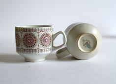 vintage spanish coffee cups set of two Pontesa Ironstone Granada Pattern. via Etsy.