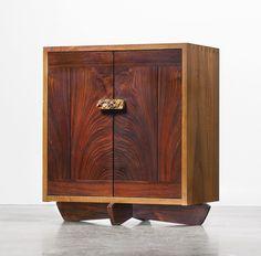 "Sotheby's: Modern Design Visionaries: The Yurcik Collection signed, George Nakashima, April 1984, CUSTOM ""KORNBLUT"" CABINET Persian walnut, American black walnut, E. Indian rosewood & burl"
