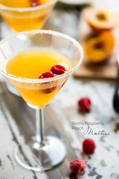 Peach Martini: Organic Cane Sugar for rimming (optional) Raspberry Vodka, Plus Additional for rimming, (optional) Fresh Peaches, Peach Schnapps, Lemon-Lime Soda Raspberries. Spring Cocktails, Fruity Cocktails, Summer Drinks, Fun Drinks, Drinks Alcohol, Party Drinks, Mixed Drinks, Alcoholic Drinks, Raspberry Vodka