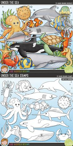 Sea creatures digital scrapbooking elements | Cute ocean animals clip art | Hand-drawn doodles for digital scrapbooking, crafting and teaching resources from Kate Hadfield Designs! Click through to see projects created using these illustrations!