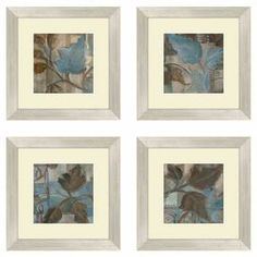 """Bring garden-inspired style to your walls with this lovely framed print, showcasing a leaf motif.    Product: Set of 4 framed printsConstruction Material: Paper and woodColor: Cream frameFeatures:  Made in USAWill enhance any setting Dimensions: 14.5"""" H x 14.5"""" each"""