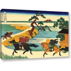 ArtWall Katsushika Hokusai The Fields of Sekiya By the Sumida River Gallery-Wrapped Canvas, Size: 12 x 18, White