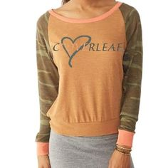 Hooey® Ladies Clover Leaf Rustic Orange Slouch Top With Camo Sleeves