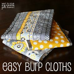 Easy Cloth Diaper Burp Cloths @ Wait 'Til Your Father Gets Home, these make the perfect shower gift for any new mom & baby