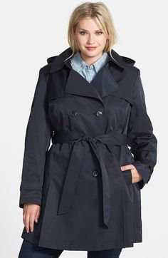 DKNY Hooded Skirted Trench Coat (Plus Size) | Nordstrom