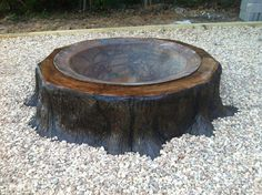 tree stump ideas - Imagine this as a bird bath! Backyard Trees, Fire Pit Backyard, Tree Stump Table, Tree Stumps, Fire Pit Gallery, Outdoor Projects, Outdoor Decor, Outdoor Fire, Outdoor Stuff