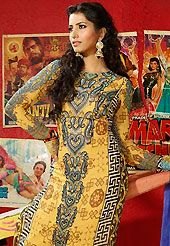 Dreamy variation on shape and forms compliment your style with tradition. The dazzling yellow faux crepe churidar suit have amazing abstract, geometric print, stone and lace work. The entire ensemble makes an excellent wear. Contrasting black churidar and shaded dupatta is available with this suit. Slight Color variations are possible due to differing screen and photograph resolutions.
