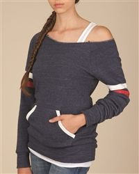 $28.99    www.SassyRiley.com Ladies' Off the Shoulder Sporty Sweatshirt. Comes in Navy(picture), Burgundy and Ivory. Re-Pin to Win!