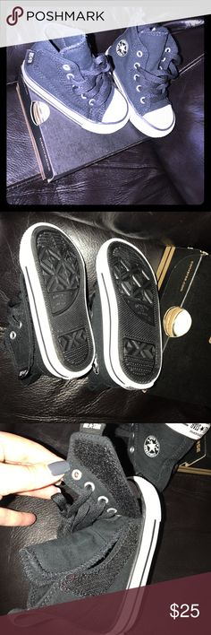 🖤Converse, NIB, baby hi top shoes 🖤Converse, NIB, baby hi top shoes with side Velcro (to assist in getting on easier) with laces. Didn't fit my son, my loss your gain. These are so adorable! Converse Shoes Sneakers
