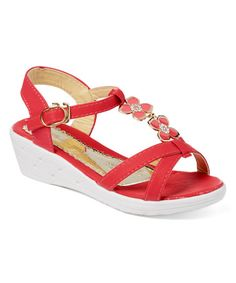 This Red Esther Wedge Sandal - Kids is perfect! #zulilyfinds