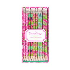 Lilly Pulitzer Pencil Set ($10) ❤ liked on Polyvore featuring home, home decor, office accessories, school, fillers, accessories, lilly pulitzer, random, paper pencil and lilly pulitzer pencils