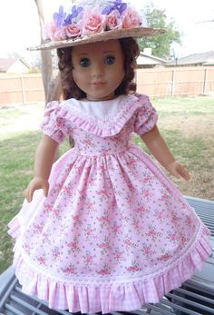 """18"""" Doll Clothes Civil War Era Gown and Hat For Spring Fits American Girl Marie Grace, Cecile, Addy"""