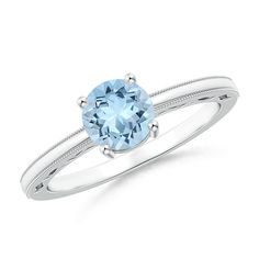 171f087a9d9c Vintage Style Aquamarine Solitaire Ring with Milgrain  solitairerings  Anillos