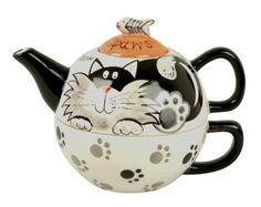 Price Kensington Tea-For-One, Paws for Tea Cat Design Teapots Unique, Tea For One, Teapots And Cups, Cat Mug, Cat Paws, Tea Service, Chocolate Pots, Cat Design, Decorative Items