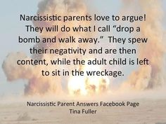 """Narcissistic parents love to argue! They will do what I call """"drop a bomb & walk away"""". They spew their negativity & are then content, while the adult child is left to sit in the wreckage."""