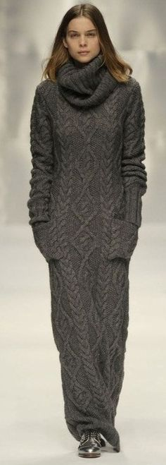 GAS: Autumn Splendor....comfy grey cozy maxi sweater dress | Keep the Glamour | BeStayBeautiful.......how cozy for a wintry day....