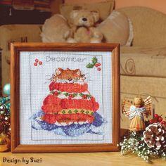 Design by Suzi: ✯ ▪ ✯ December (Projekt ✯ ▪ ✯ Margaret Sherry, Stitch 2, Cross Stitch Charts, December, Calendar, Teddy Bear, Pictures, Design, Decor