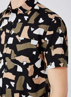 Torn Paper Print Short Sleeve Casual Shirt Torn Paper, Printed Shorts, Casual Shirts, Asos, Trending Outfits, Sleeve, How To Wear, Men, Clothes