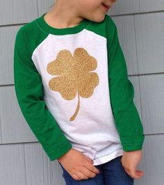 """girls """"lucky charm"""" gold clover st patricks day applique green raglan shirt by sweet sprouts"""