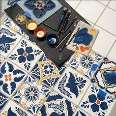 Stencil your own Talavera Tile Table with Talavera stencils from Royal Design Studio