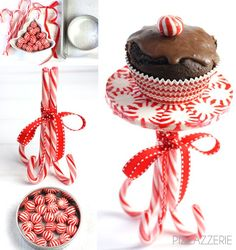 "How to Make a Peppermint Cupcake Stand! Bake candies at 300 deg x 4-6 mins inside a (Pam-sprayed) 4"" cookie cutter on parchment paper-lined cookie sheet."